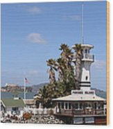 Forbes Island Restaurant With Alcatraz Island In The Background . San Francisco California . 7d14263 Wood Print