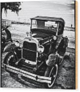Ford Model T Film Noir Wood Print