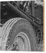 Ford Tractor Details In Black And White Wood Print