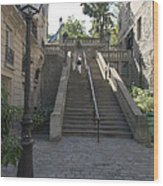 Foreshortening Of Montmartre With Street Lamp And Staircase Wood Print