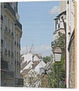 Foreshortening Of Paris With Windmill Sails Wood Print