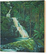 Forest Waterfall Wood Print