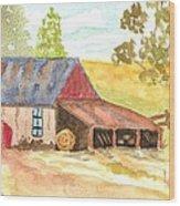 Forgotten Barn Postcard Wood Print