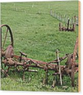 Forgotten Farm Equipment Wood Print
