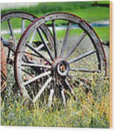 Forgotten Wagon Wheel Wood Print by Sarai Rachel