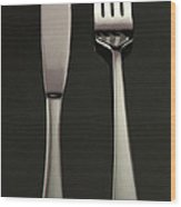Fork And Knife - Painterly Wood Print by Wingsdomain Art and Photography