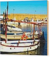Fornells Harbour Wood Print
