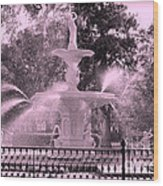 Forsyth Park Fountain In Pink Wood Print