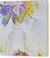 Forsythia And Ghost Daisies Wood Print