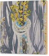 Forsythia In Old Clear Vase Mary Carol Wood Print