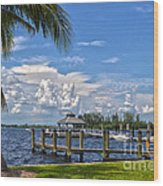 Fort Myers Dock Wood Print