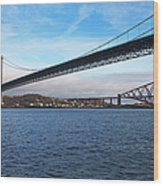 Forth Road Bridge And Forth Rail Bridge Wood Print