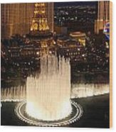 Fountains At Night Wood Print