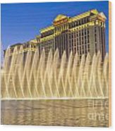 Fountains Of Bellagio In Front Of Caesar's Palace Hotel And Casi Wood Print