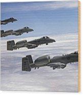 Four A-10 Thunderbolt IIs Fly Wood Print