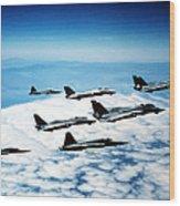 Four F-14 Tomcats And Three F-5 Tiger Wood Print