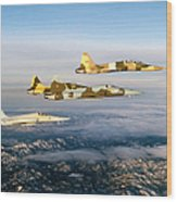 Four F-5 Tiger IIs Fly Above Southern Wood Print