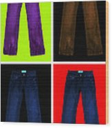 Four Pairs Of Blue Jeans - Painterly Wood Print