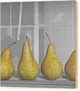 Four Pears On Windowsill Wood Print