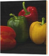 Four Peppers Wood Print