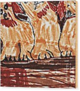 Four Puppies In A Row Wood Print by Stephanie Ward