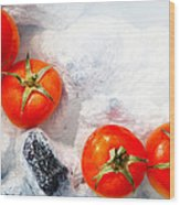 Four Red Tomatos  Wood Print