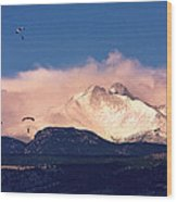 Four Skydivers With Longs Peak And Mount Meeker Rocky Mountain H Wood Print