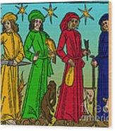 Four Temperaments, Medieval Woodcut Wood Print
