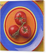 Four Tomatoes  Wood Print