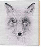 Fox Wood Print by Lucy D