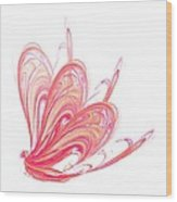 Fractal - Red Flow Wood Print