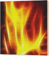 Fractal Fire Wood Print by Steve Ohlsen