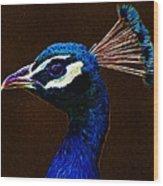 Fractalius Peacock Wood Print