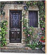 Framed In Flowers Dordogne France Wood Print