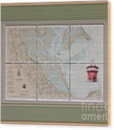 Framed Plymouth Bay With Lighthouse Tile Set Wood Print