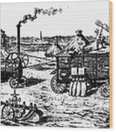 France: Steam Threshing Wood Print
