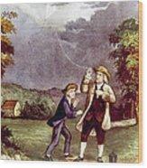Franklins Experiment, June 1752 Wood Print