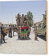 Free Libyan Army Troops Pose Wood Print