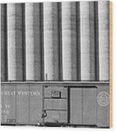 Freight Car And Grain Elevators Wood Print