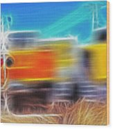 Freight Train At Railroad Crossing 2 Wood Print by Steve Ohlsen