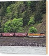 Freight Train Traveling Up The Gorge Wood Print