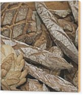 French Breads At A Bazaar In Provence Wood Print