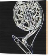 French Horn Color Photo Drawing Wood Print