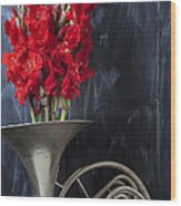 French Horn With Gladiolus Wood Print