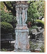 French Quarter Courtyard Statue New Orleans Ink Outlines Digital Art Wood Print