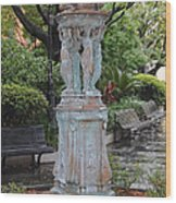 French Quarter Courtyard Statue New Orleans Wood Print