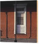 French Quarter Door And Shadows New Orleans Wood Print