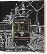 French Quarter French Market Cable Car New Orleans Color Splash Black And White With Glowing Edges Wood Print