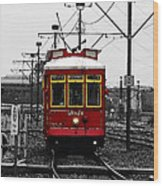 French Quarter French Market Cable Car New Orleans Color Splash Black And White With Watercolor Wood Print