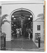 French Quarter French Market Entrance New Orleans Black And White Wood Print